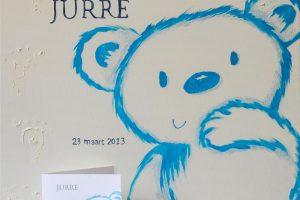 Jurre (50x50cm) Schilderij van geboortekaartje