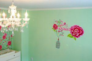 Muurschildering babykamer Suus